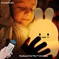 Кролик RGB LED ночник сенсорный датчик дистанционное управление затемняемый таймер USB перезаряжаемая силиконовая лампа в форме кролика для де...