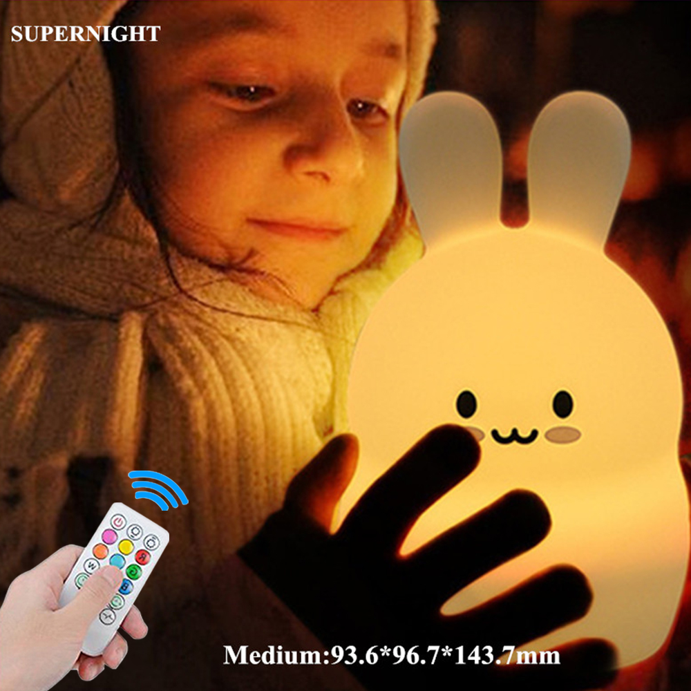 Rabbit LED Night Light Remote Control Dimmable Timer Touch Sensor 9 Colors USB Charging Silicone Bunny Bedside Lamp For Children