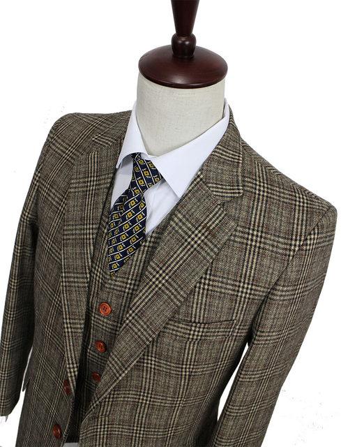 Online Shop retro Brown plaid groom tuxedos custom made slim fit ...
