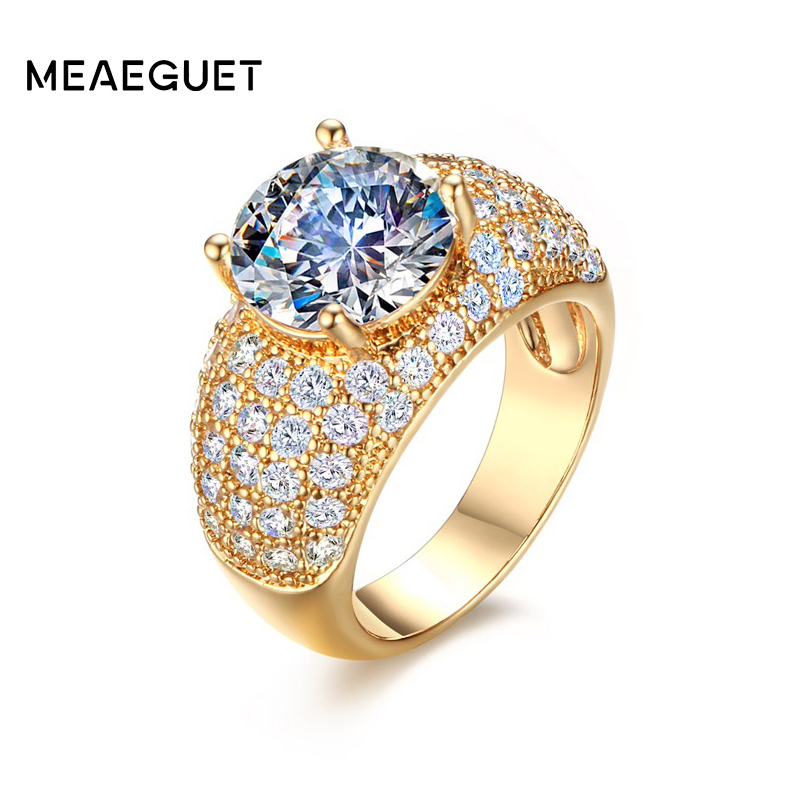 Vintage Cubic Zirnonia Rings For Women Wedding Jewelry Gold-Color ...