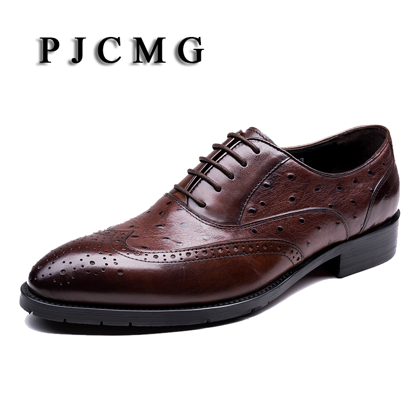PJCMG Italian Ostrich Designer Formal Mens Dress Genuine Leather Black/Red Basic Lace-Up For Men Wedding Office Shoes 2017 new fashion italian designer formal mens dress shoes embossed leather luxury wedding shoes men loafers office for male