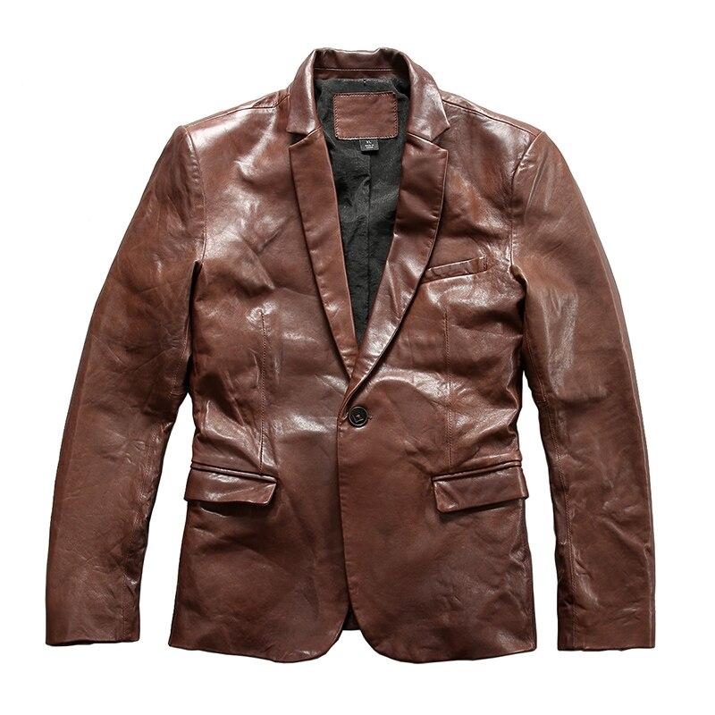 0910 Read Description! Asian size super quality men's suede leather outwear mens leather coat goat leather stylish blazer