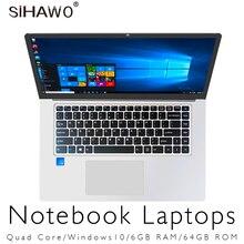 Ноутбук 15,6 дюймов Windows 10 ультрабук Игровые ноутбуки Intel Core Celeron N3450 ноутбук компьютер с 6 ГБ оперативной памяти 64 ГБ 128 Гб SSD rom