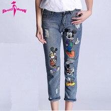5XL 4XL 2016 Autumn Fashion Women Jeans Boyfriend Style Print Mickey Ladies Casual Vintage Denim Pants Big Size Ripped Jeans