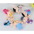 6 Pcs/ Set Soft Plush My Family Finger Puppet Set Includes Grandma Granddad Sister Brother Mom Dad Toys For Kids Baby