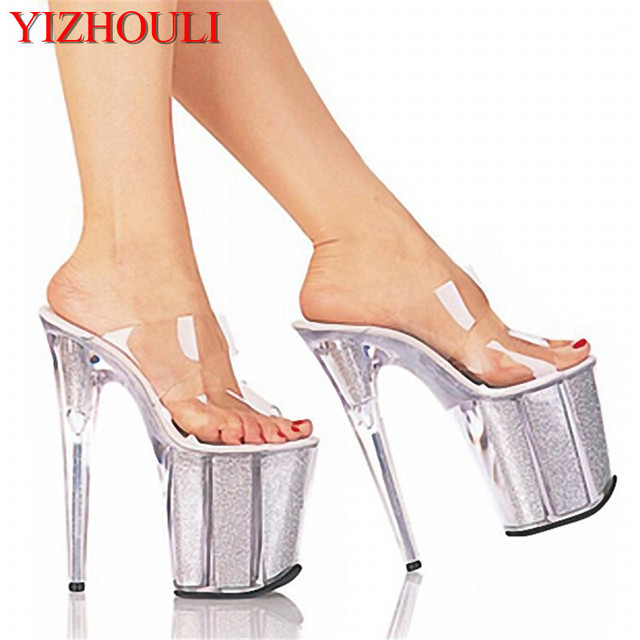 1726b03f1e3 20cm Unusual High Heel Shoes Silver 8 Inch High Heel Gladiator Sandals  Crystal Platform Slippers Made In China Sexy Rome Shoes