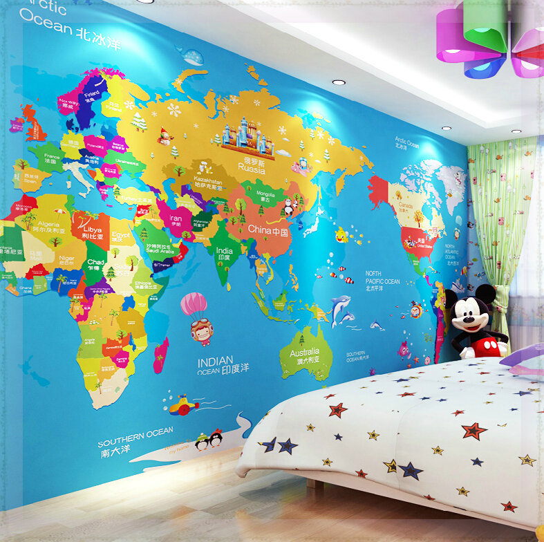 Children Room Seamless Large Murals Aisle Personality Wallpaper - Map of the world wallpaper for kids