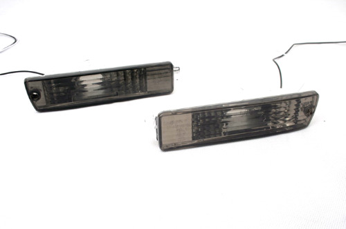 2PCS Black Crystal Smoke Front Turn Signal Light with Big Bumper for JETTA MK2 for GOLF MK2
