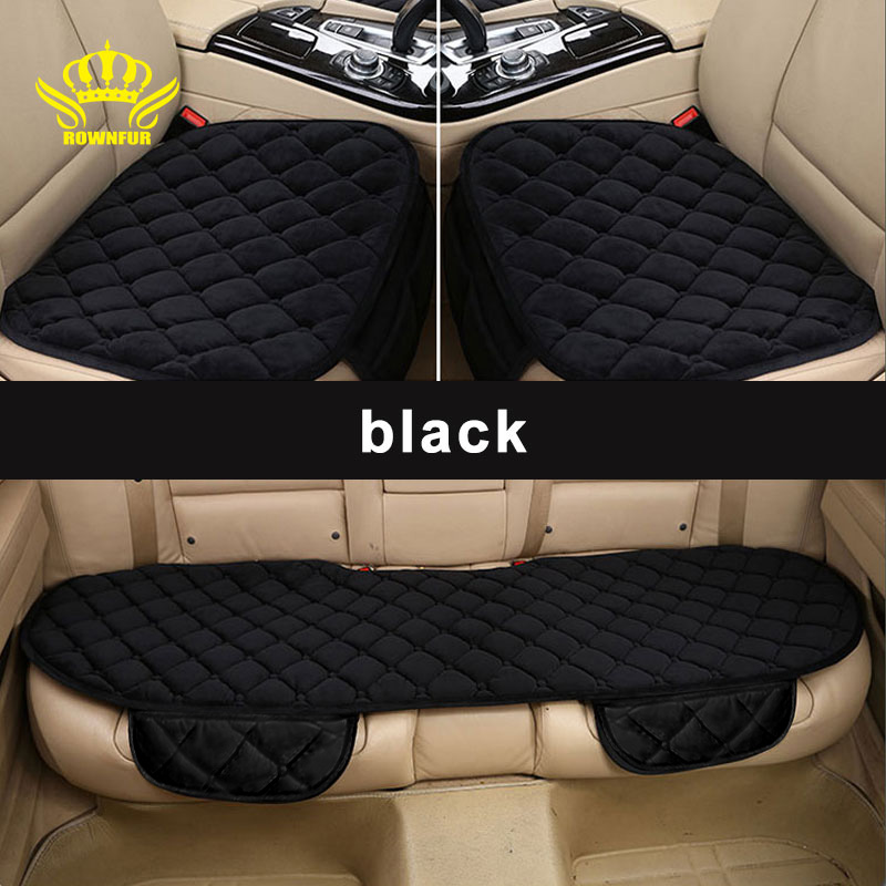 цена ROWNFUR Car Seat Cover Universal Four Seasons Warm Flocking Cloth Seat Covers Front Back Seat Covers Car Interior Accessories
