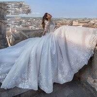 Dubai Africa Long Sleeve Tulle Wedding Dress 2019 Court Train Bridal Gowns Vintage Lace Princess Wedding Dresses Robe De Mariee