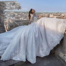 Robe De Casamento dubaï afrique à manches longues bohème Robe De mariée 2021 Court Train princesse Robe De bal De mariée Robe De mariée