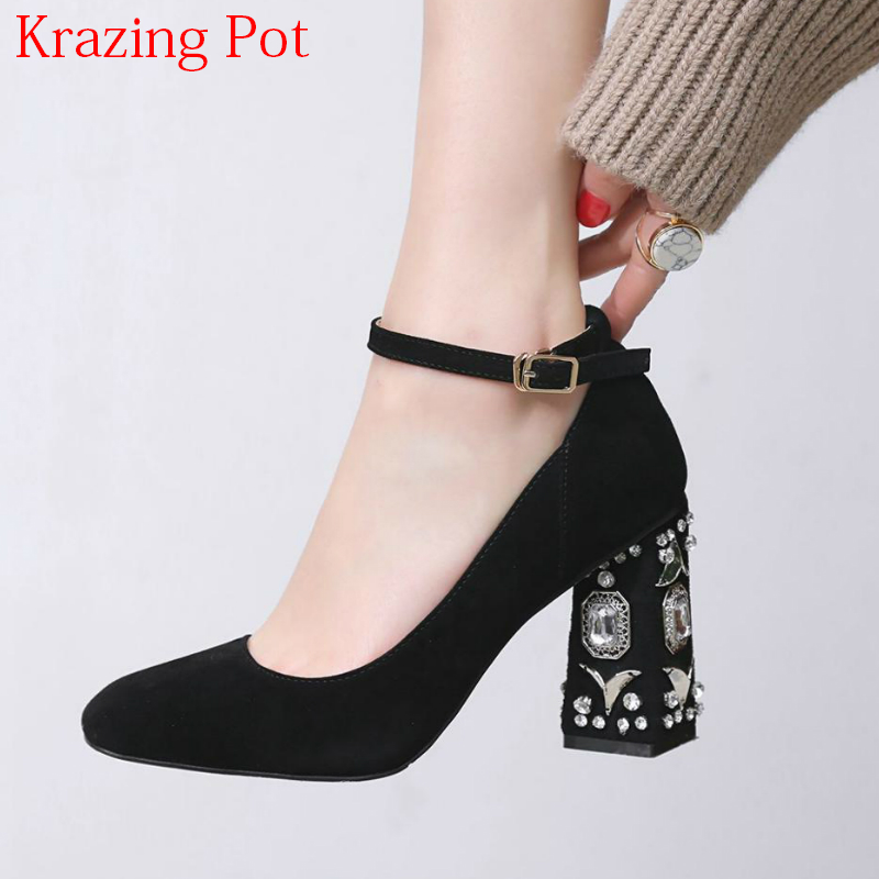 2018 Big Size Sheep Suede Crystal High Heels Ankle Strap Diamond Heels Women Pumps Square Toe Shallow Wedding Luxury Brand Shoes two part ankle strap suede heels