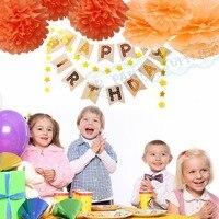 1 Set Goud Wit Party Decoratie Benodigdheden Folie Goud Gelukkige Verjaardag Banner Oranje Perzik Tissue Pompom Mix maten 30 cm/25 cm Poms