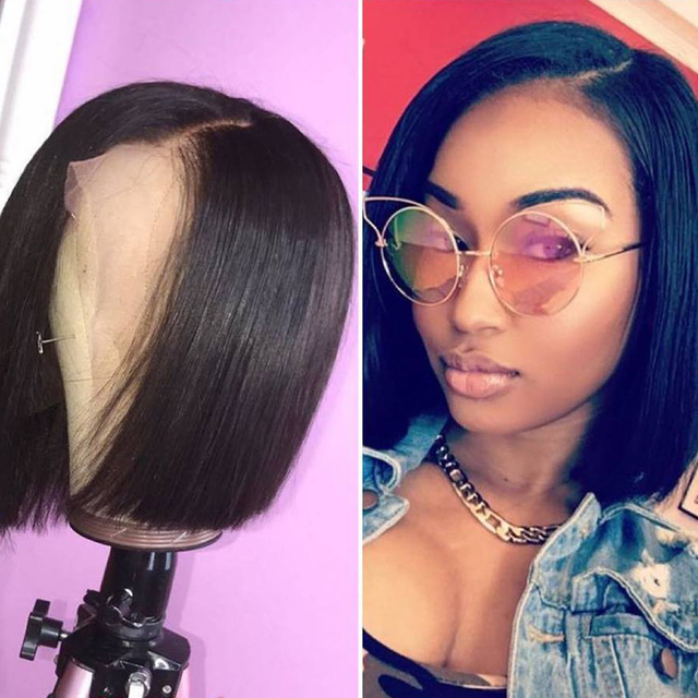13*4 Short Lace Front Human Hair Wigs For Black Women Brazilian Remy Hair Bob Wig With Baby Hair Pre Plucked Bleached Knot