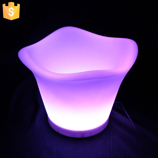 Rechargeable PE material not Acrylic led ice bucket party cooler Factory Direct Sale Free Shipping 4pcs/Lot