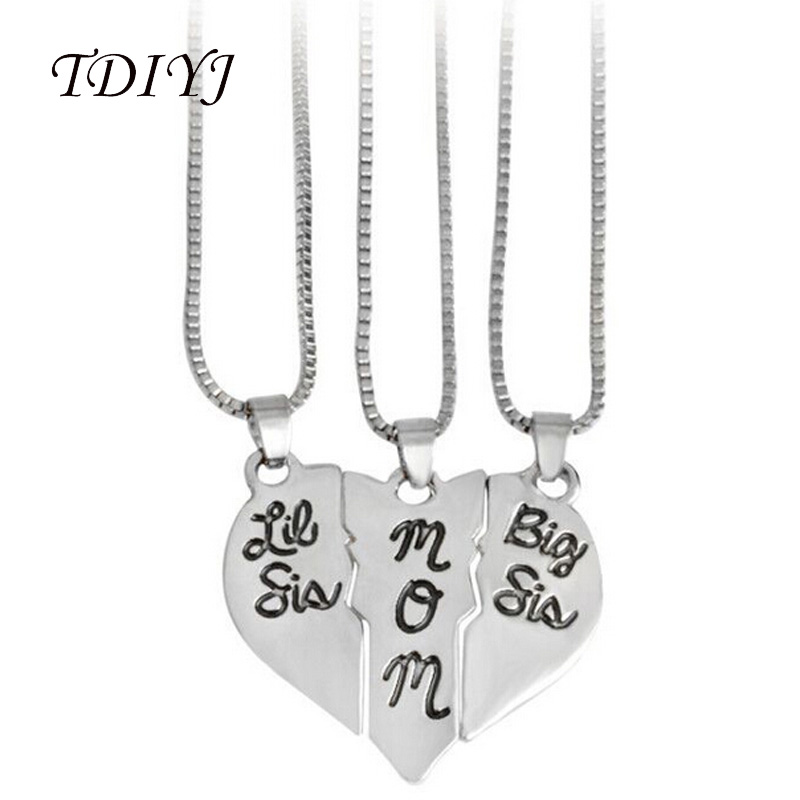 TDIYJ Hot Fashion Baby Sister Mom Three Stitching Love Pendant Necklace for Mothers Day Birthdays Gift in Jewelry Findings ...