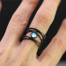Romad Classical Male Cross Moonstone Ring Open Black Gold Wedding Rings For Men Women Fashion Jewelry Gift 2019 W3