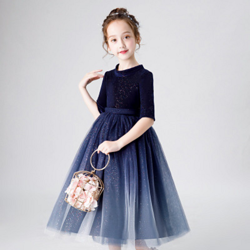 Drop Ship Children Girls 2019 Spring Evening Party Piano Host Pageant Princess Dress Kids Toddler bling