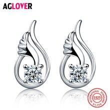 цены Angel Stud Earring Fashion 925 Sterling Silver Crystal Earrings for Women Girls Nickel Free Wholesale Jewelry