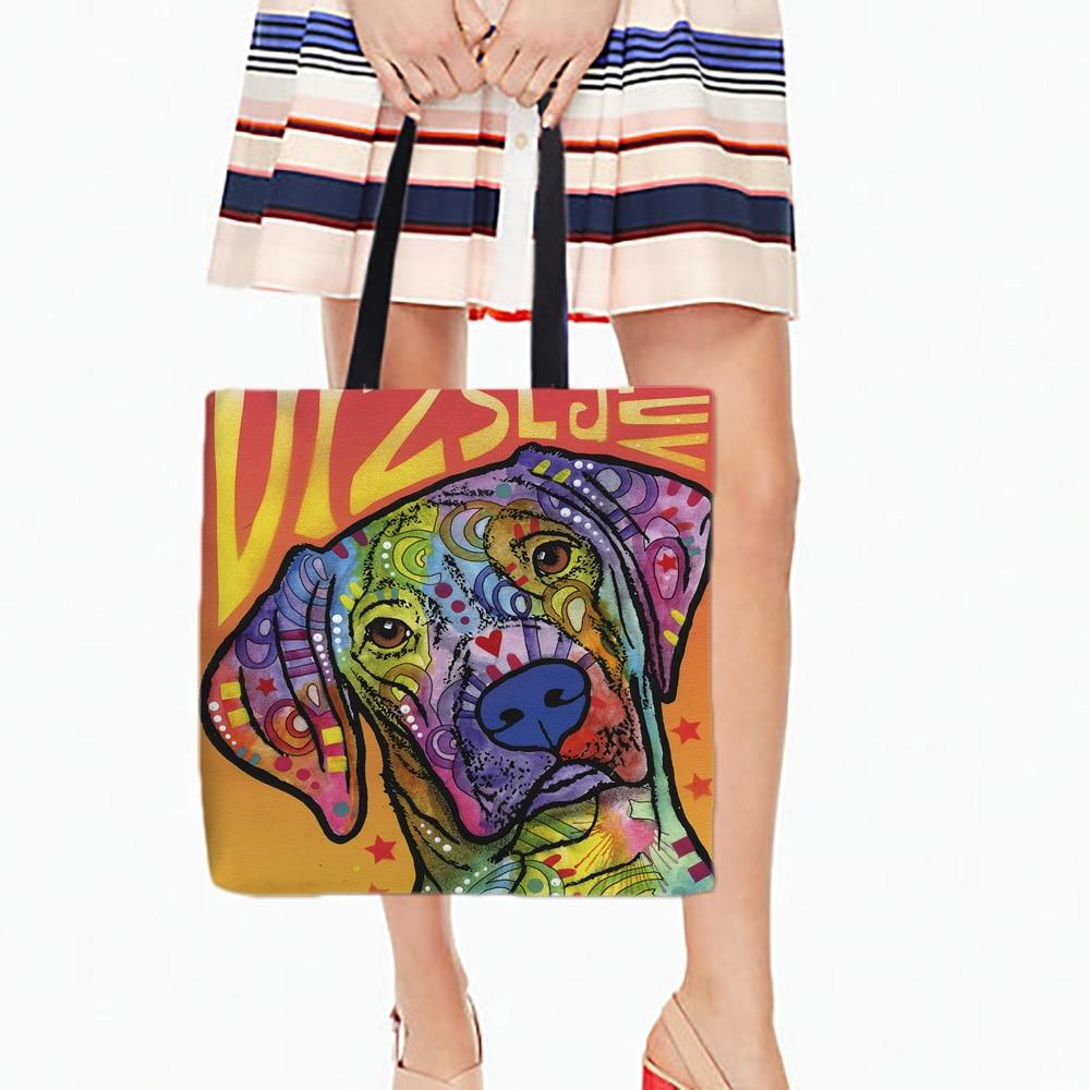 Witte canvans draagtassen Schattige puppy hond Gedrukt Kleur Inktstijl Kunst Dubbelzijdig afdrukken Handtas Mooie kleur