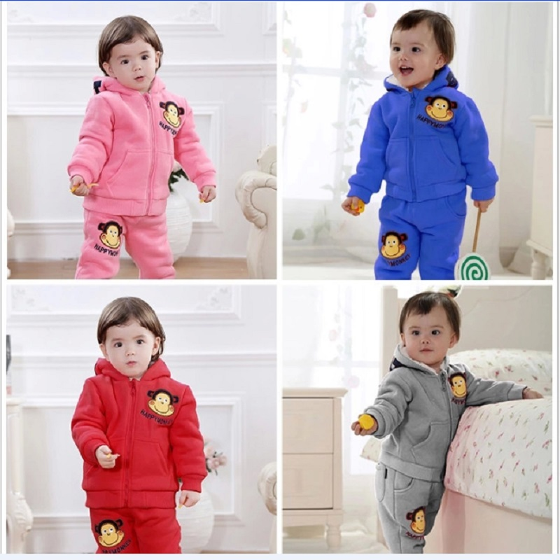 2017 Winter Baby Boys Tracksuit Clothes Sets Hoodies Coat + Pants Sport Suit Thick Children Outfits Kid Clothing Girl Outerwear autumn winter boys clothing sets kids jacket pants children sport suits boys clothes set kid sport suit toddler boy clothes