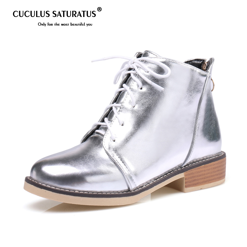 f6f06b00ab8687 Cuculus Silver Gold Boots 2019 Women Lace up Ankle Boots Platform Shoes  Woman Slip On Creepers