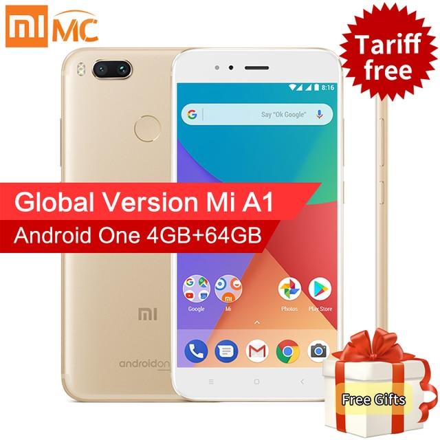 "Глобальная версия Сяо Mi A1 4 ГБ 64 ГБ Смартфон Snapdragon 625 Octa Core 5.5 ""FHD дисплей двойной камеры 12MP + 12MP Android 7.1.2"