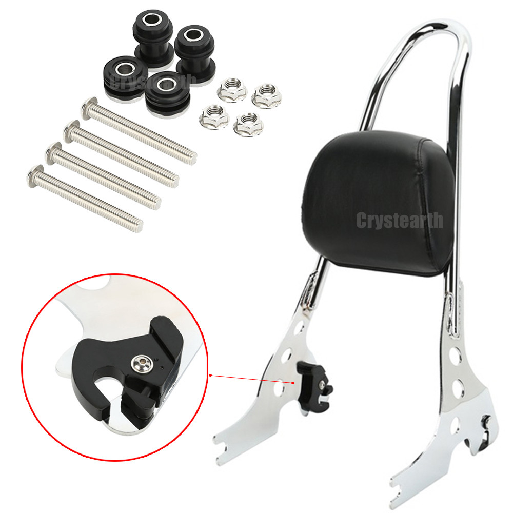 Chrome Passenger Backrest Luggage Rack Sissy Bar Cushion Pad For Harley Sportster 883 1200 XL 48 883C 883R 1200R 14-16 New Style цены