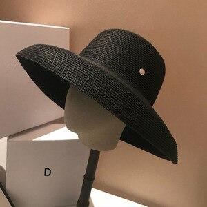 Image 4 - 13cm szerokie rondo kapelusz przeciwsłoneczny na plażę duże dyskietki kobiety kapelusz na lato czerwony czarny biały czerwony UV osłona przeciwsłoneczna słomkowy kapelusz składany Travel Derby Hat