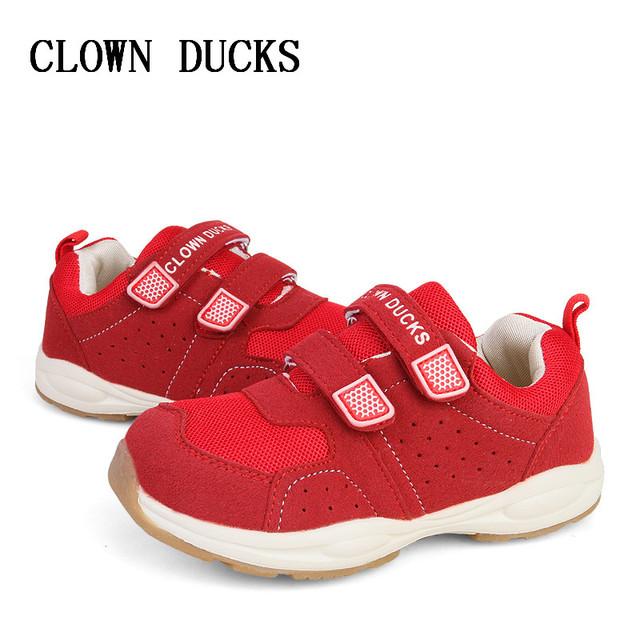 PALHAÇO PATOS Novas Crianças Malha sapatos Para Meninos Das Meninas Do Esporte Sapatos Antiderrapantes Fundo Macio Crianças Sapatos Confortáveis Tênis Respirável