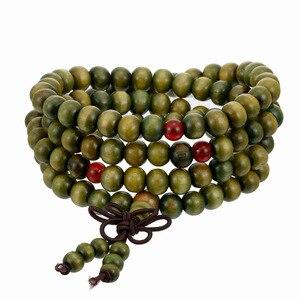 Image 3 - 1Pcs 8mm Natural Sandalwood Buddhist Buddha Meditation Wood Prayer Bead Mala Bracelet Bangles Women Men Jewelry 108 Beads Bijoux
