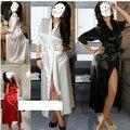 2015 Nigth Vestido Longo Sleepwear Robe Ver Através de Lingeries Sexy das Mulheres