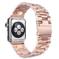 Wholesale5pcs * Roestvrijstalen Metalen Band Band 3 Bal Link Armband voor Apple Horloge ik Horloge 42mm (Rose goud)