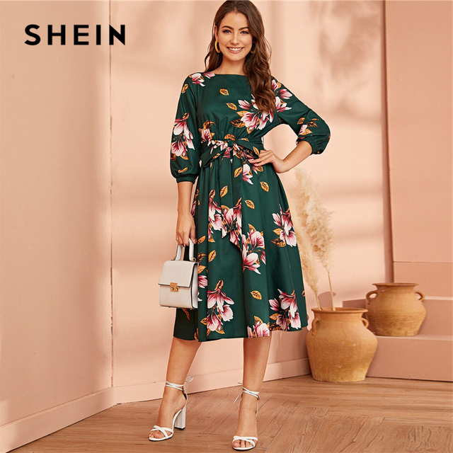 SHEIN Green Abaya Elastic Waist Belted Floral High Waist Dress Women Spring Autumn Bishop Sleeve Flared Elegant Long Dresses