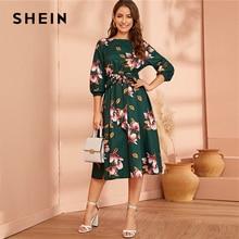 SHEIN elegante vestido verde Abaya para señora, de entretiempo, acampanado con diseño Floral, cintura alta elástica y manga de obispo