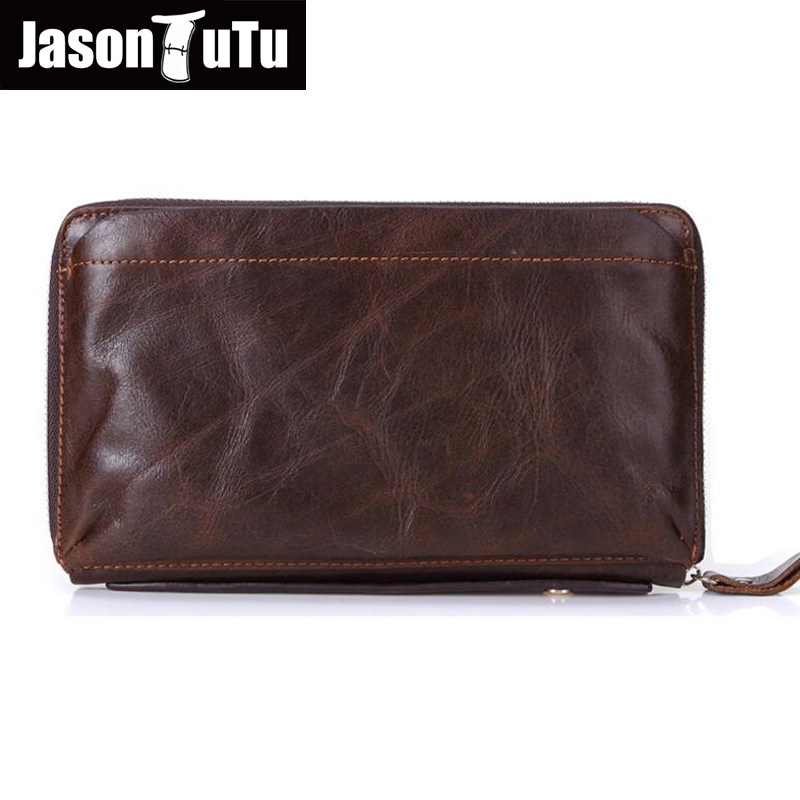 JASON TUTU Genuine leather men wallet Organizer Wallets Card pack Business Clutch Purse Phone bag Real Cowhide Purse for men new gw4468 24v 17 rev min high torque dc motor worm gear motor motor