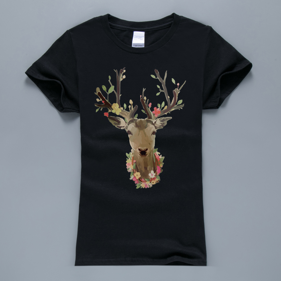 Kawaii deer head printed women t shirt 2017 summer fashion for High quality printed t shirts
