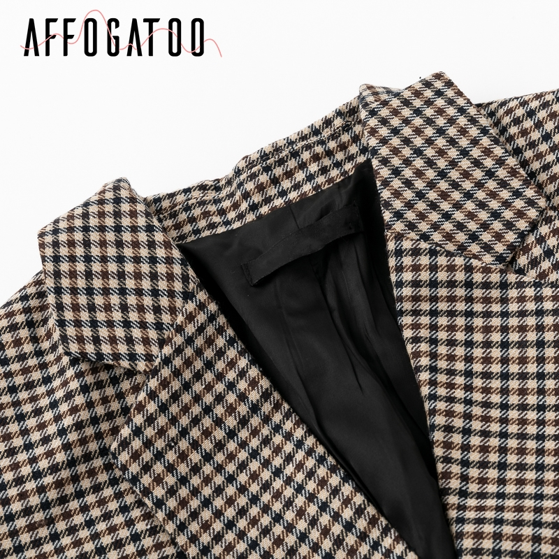 Affogatoo Fashion double breasted plaid blazer women Long sleeve slim OL blazer 18 Casual autumn jacket blazer female 9
