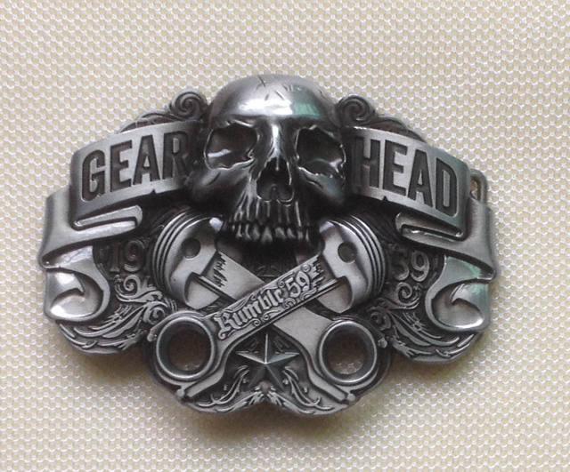 GEAR HEAD METAL SKULL BUCKLE