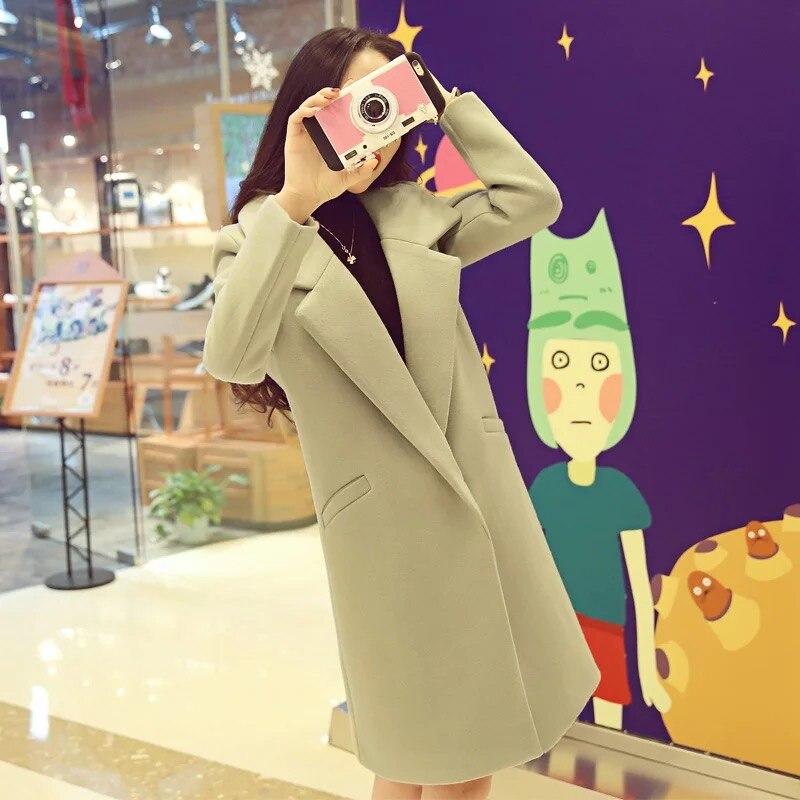 Pinkish Long Cardigan Tb708241 Femmes Gray Américain Européen Green Light pale light Et Grey D'hiver Loisirs Dames Col Manteau Élégant Laine Automne Costume qSUqO7w