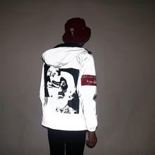 Aolamegs Men Jacket Funny Print Windbreaker Reflective Casual Couple Streetwear Zipper Thin Fluorescent Sportswear