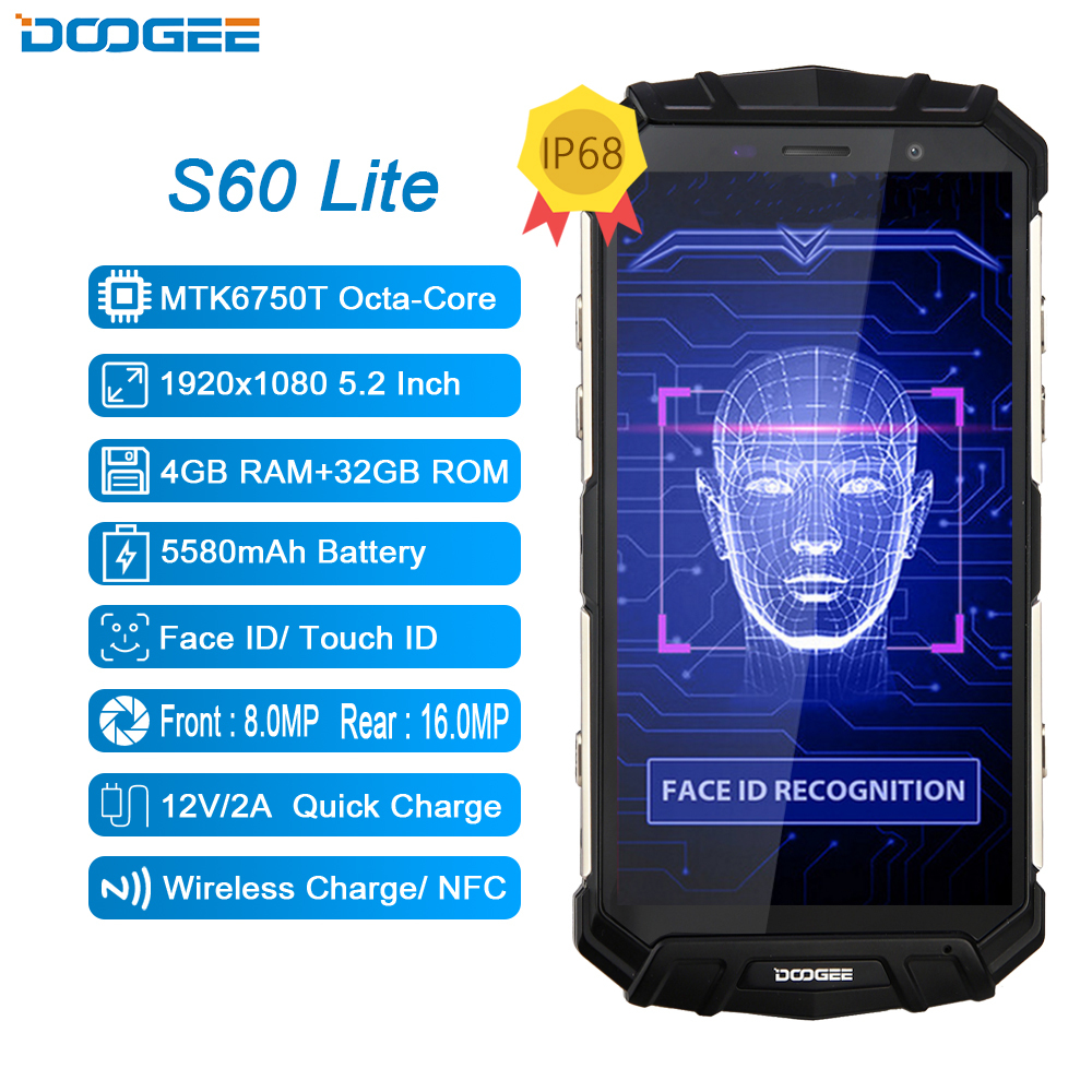 DOOGEE S60 Lite 4G Mobile Phone IP68 Waterproof MTK6750T Octa Core 4GB+32GB Android 7.0 NFC Wireless Charging 5.2 Inch Cellphone