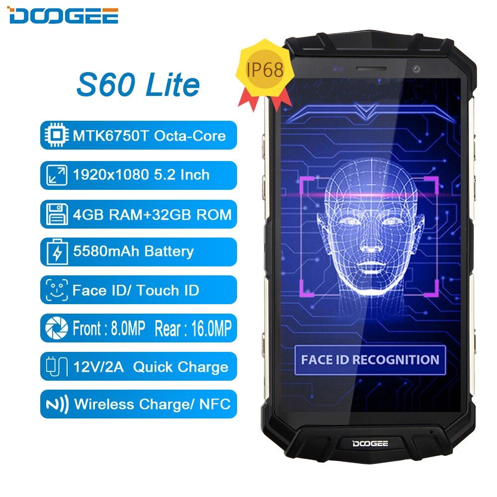 DOOGEE S60 Lite 4G téléphone portable IP68 étanche MTK6750T Octa Core 4 GB + 32 GB Android 7.0 NFC sans fil de charge 5.2 pouces téléphone portable