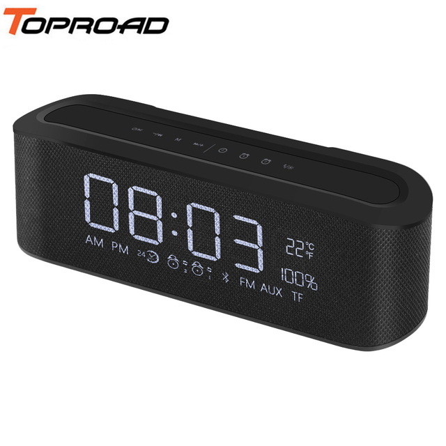 706a92a4f38 TOPROAD Portable Bluetooth Speaker Wireless Hifi Stereo LED Digital Alarm  Clock Speakers Support TF FM Radio