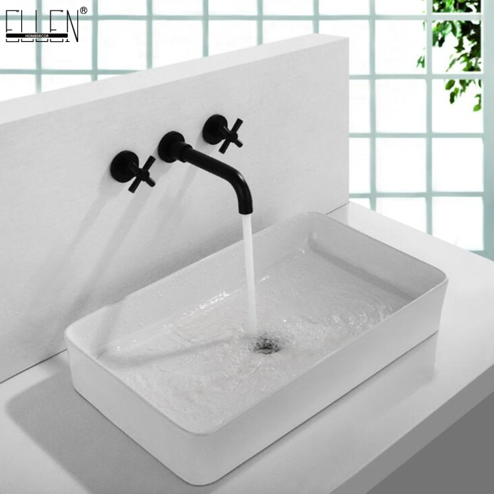 Wall Mounted Basin Sink Mixer Tap Hot Cold Crane Wall Faucets Dual Handle 3 hole Black Bathroom Faucet ELK907Wall Mounted Basin Sink Mixer Tap Hot Cold Crane Wall Faucets Dual Handle 3 hole Black Bathroom Faucet ELK907