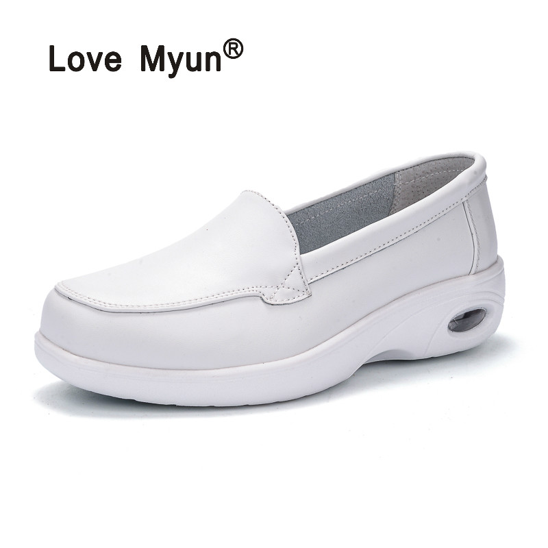 2018 Hot Sale Flat Platform Shoes Woman Slip on Loafers Spring Shoes Plus Size 4-9 Women Flats Breathable Casual Shoes plus size women footwear shoes star hollow platform loafer shoes summer breathable students casual flat with shoes increase shoe