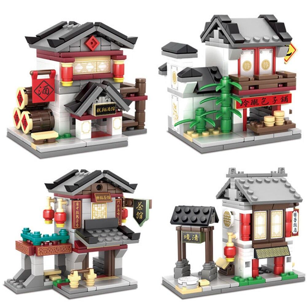 4pcs/set Kazi China Town Resturant Teahouse Breakfast Shop Chinese Bar 4 Styles Building Blocks Bricks Toys Mini Street View Toy