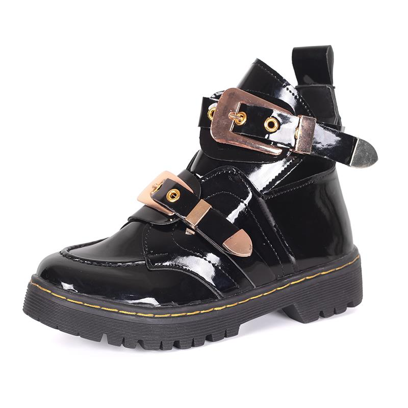 Patent leather Women Ankle Boots low heels buckle rivet metal Martin boots hollow woman shoes punk women's boots 2018 new spring summer shoes woman ankle hollow boots metal buckle genuine leather mortorcycle boots low thick heel women shoes