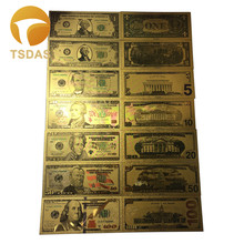 Real Gold Banknote Set USD 100/50/20/10/5 Notes Collection .999 Pure USD Bill 24K Gold Plated For Home Decoration 999 pure 24k yellow gold 3d lucky small bell pendant 1 6g