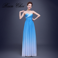 Wholesale Cheap Bridesmaid Dresses Free Shipping Blue Rosy Chiffon Long Elegant Wedding Party Dress Gowns